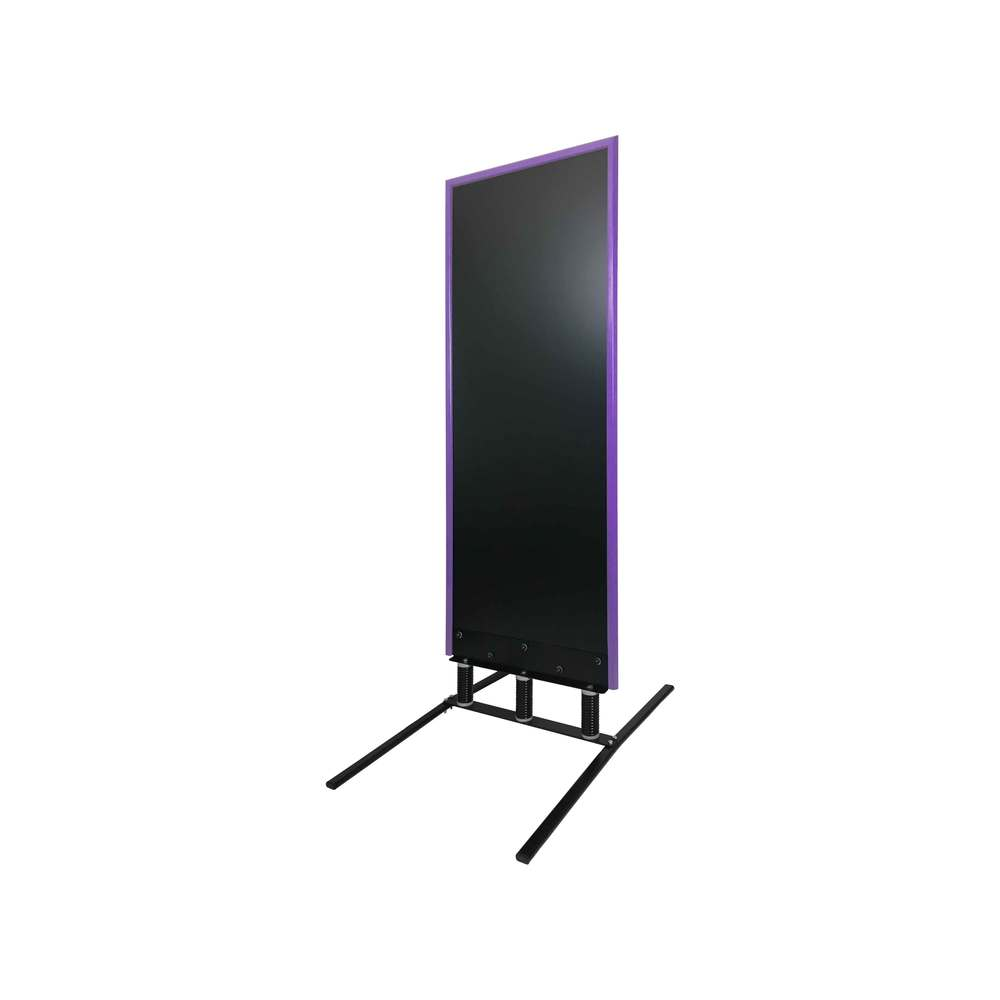 Panneau trottoir grand vent sur 3 ressorts cadre violet dimensions 180 x 65 cm
