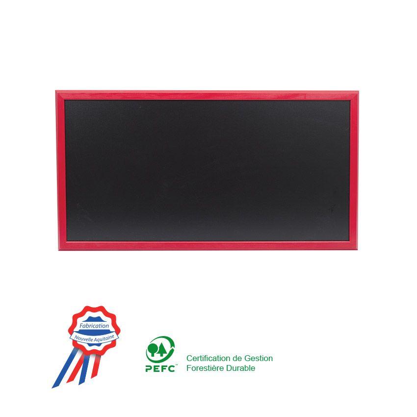 Ardoise murale 102x57cm cadre bois vernis rouge vin - fabrication française (photo)