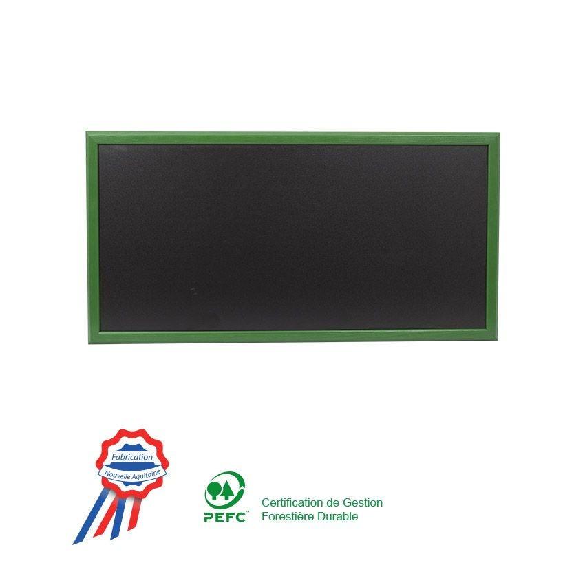 Ardoise murale 102x57cm cadre bois vernis vert feuille - fabrication française (photo)