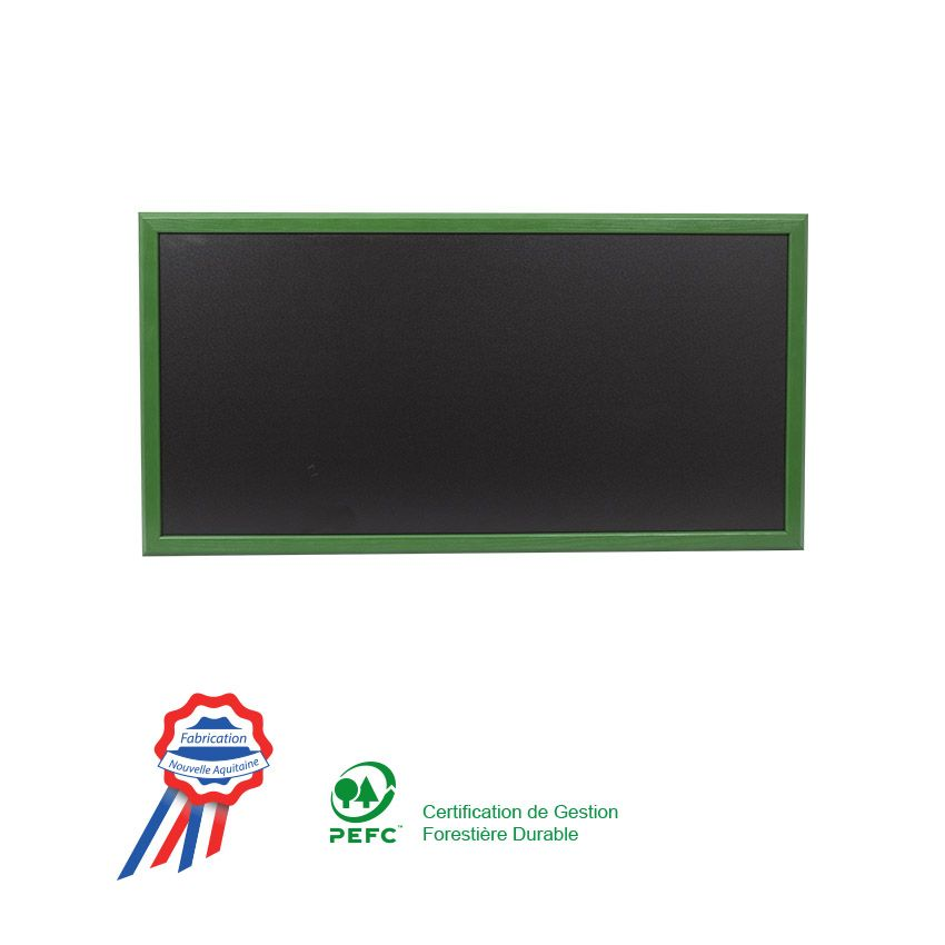 Ardoise murale 102x57cm cadre bois vernis vert feuille (photo)