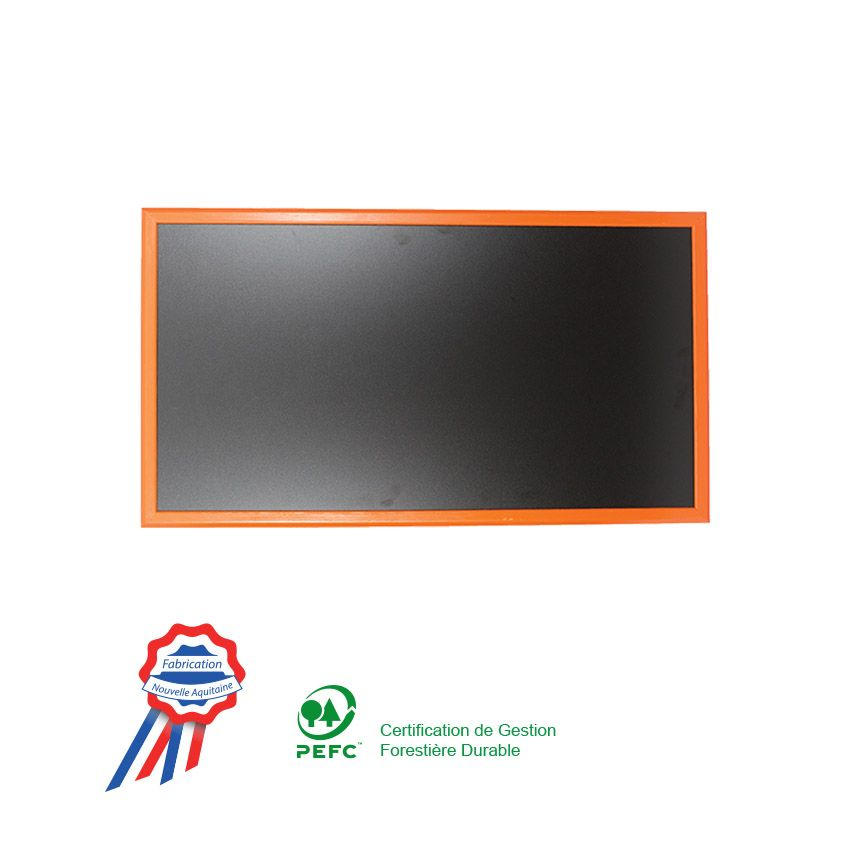 Ardoise murale 95x50cm cadre bois vernis orange (photo)