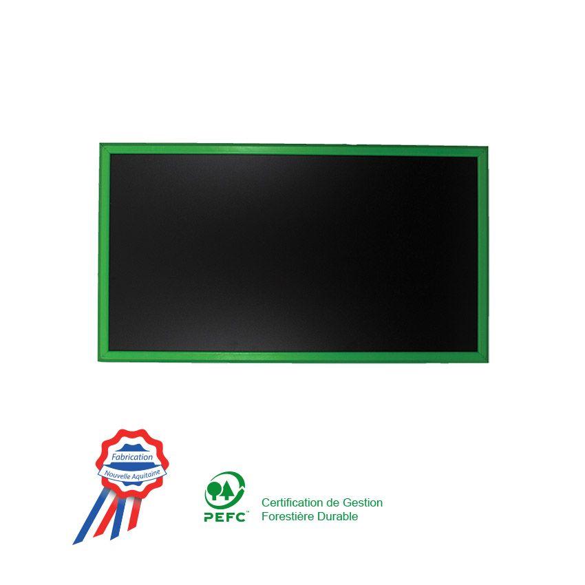 Ardoise murale 95x50cm cadre bois vernis vert (photo)