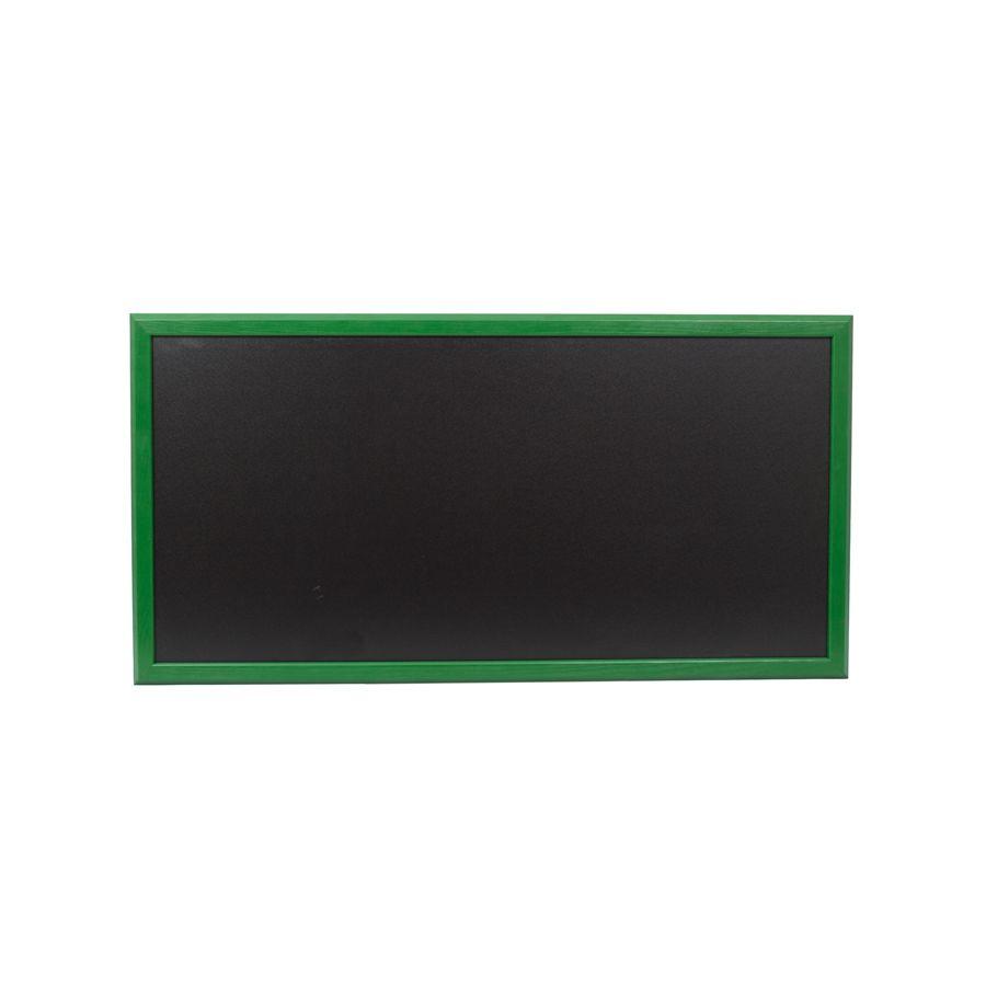 Ardoise murale 95x50cm cadre bois vernis vert feuille (photo)