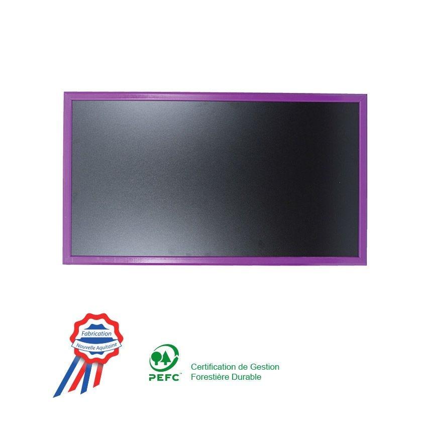 Ardoise murale 95x50cm cadre bois vernis violet (photo)