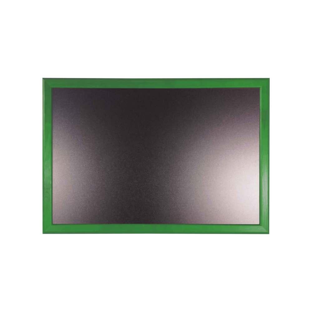 Ardoise murale 66x46cm cadre bois vernis vert feuille - par 2 (photo)
