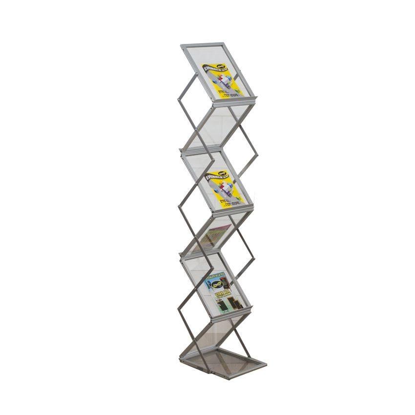 Présentoir zig-zag pliable 150 x 30 cm - couleur aluminium