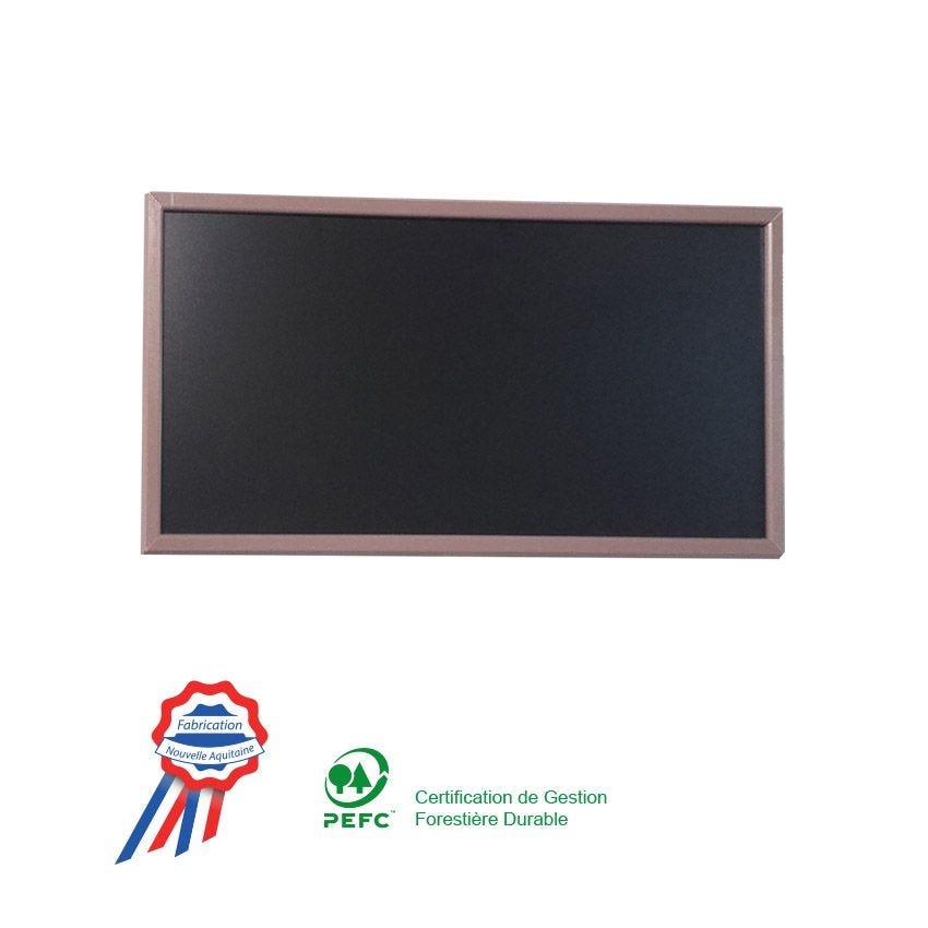 Ardoise à poser 95x50cm cadre bois vernis taupe (photo)