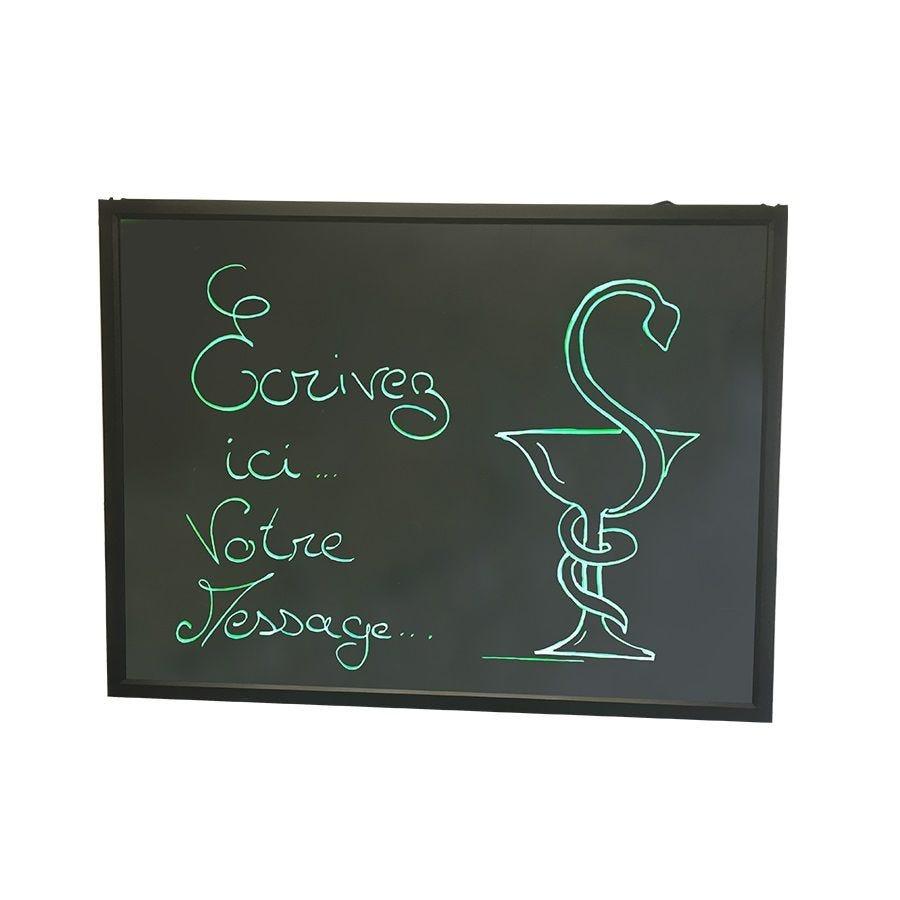 Ardoise lumineuse led vertes pour pharmacie 80 x 60 cm (photo)