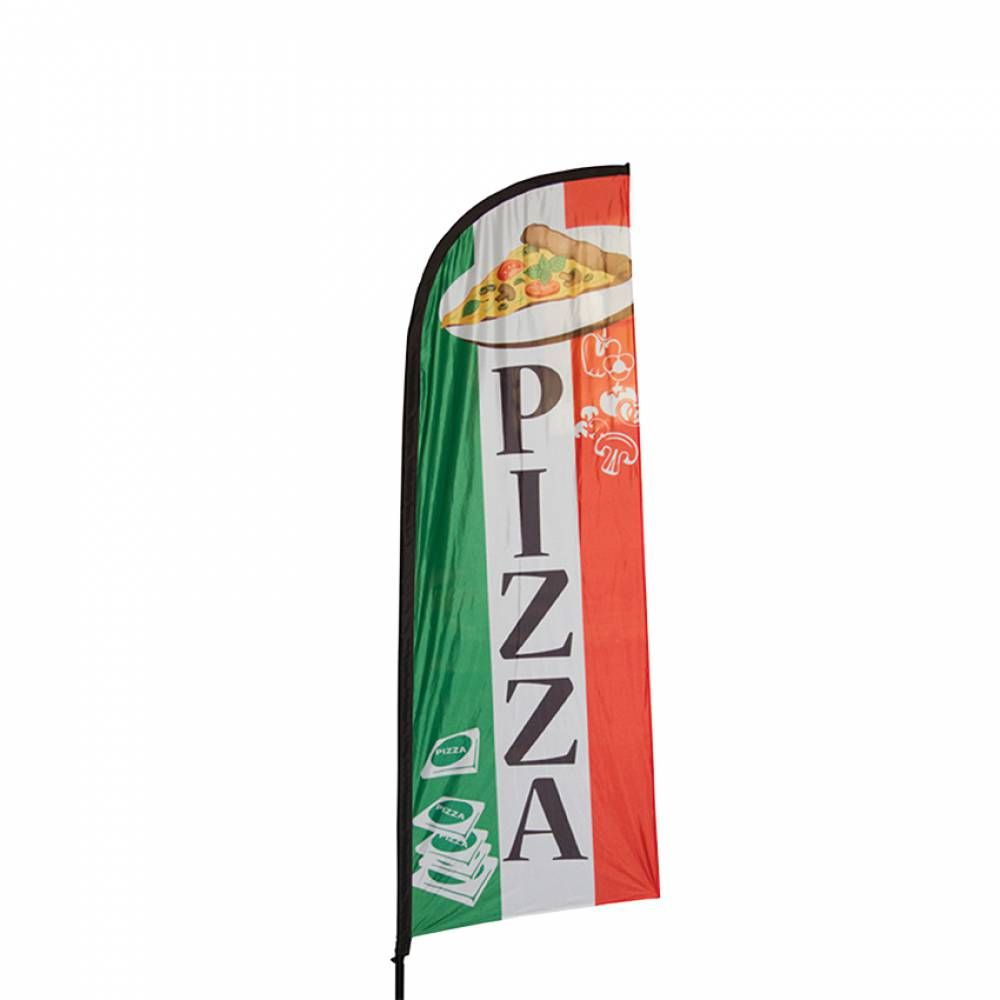 Beach flag - drapeau publicitaire grande taille 270x100 cm pizza (photo)