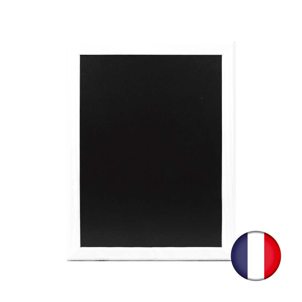 Ardoise murale 46x36cm cadre bois vernis bleu ciel - fabrication française (photo)