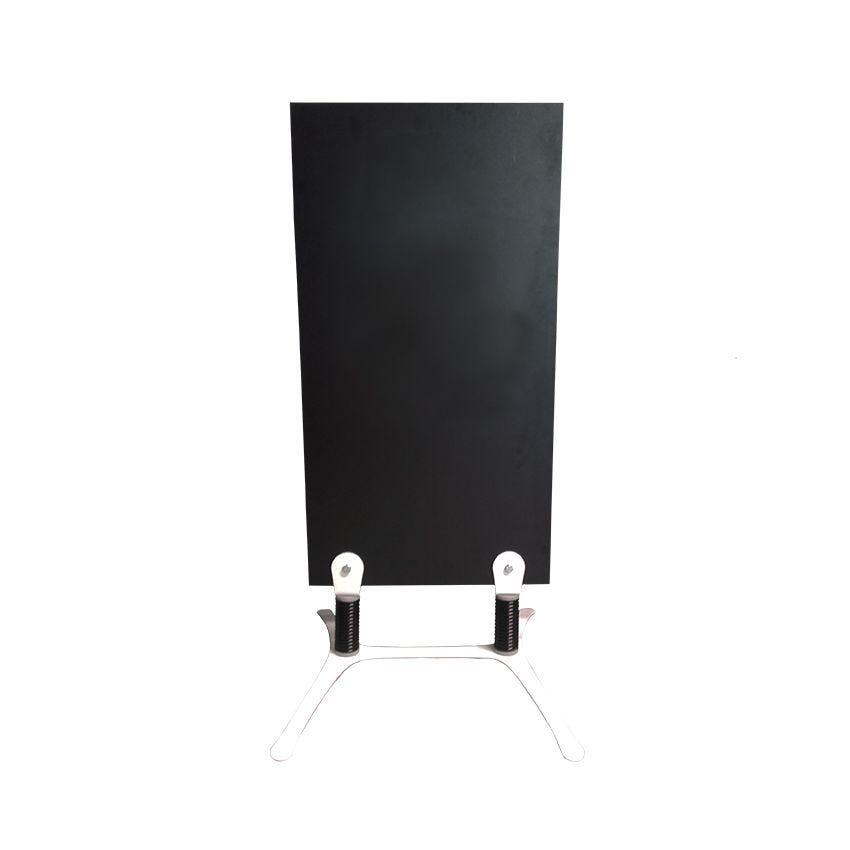 Panneau trottoir 120x52cm sur ressorts ardoise noire double face pieds blancs