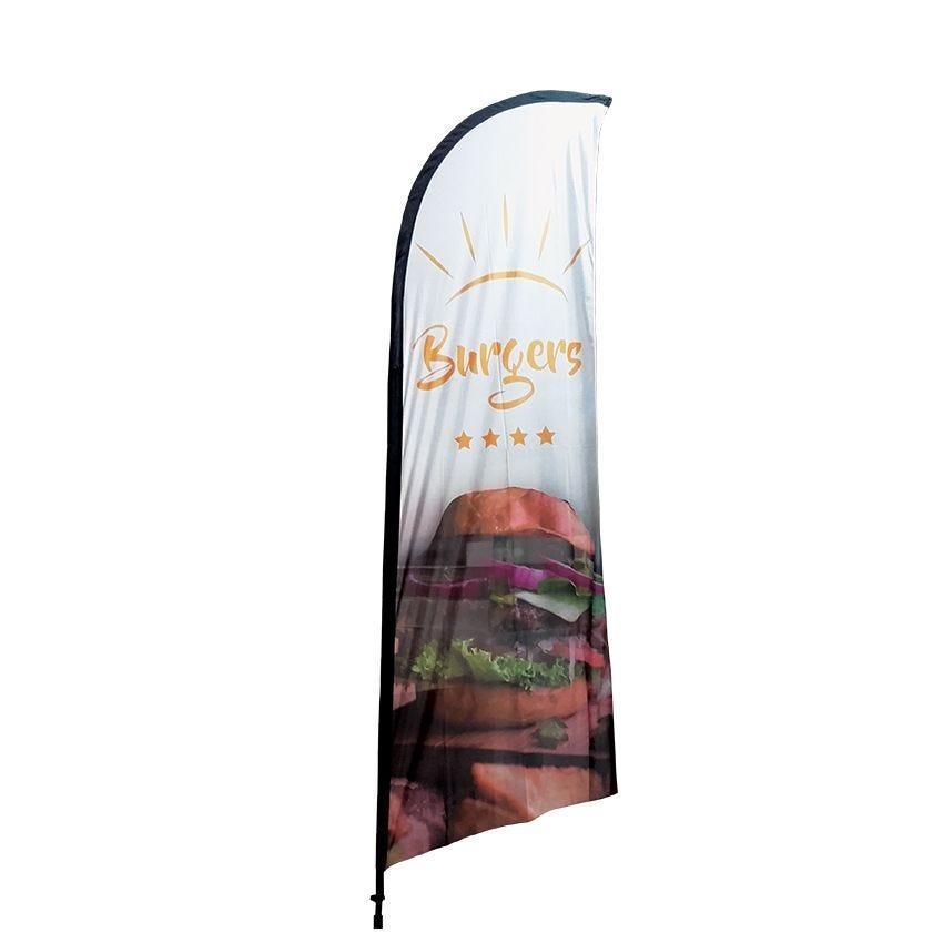 Beach flag - drapeau publicitaire grande taille 270 x 100 cm burger