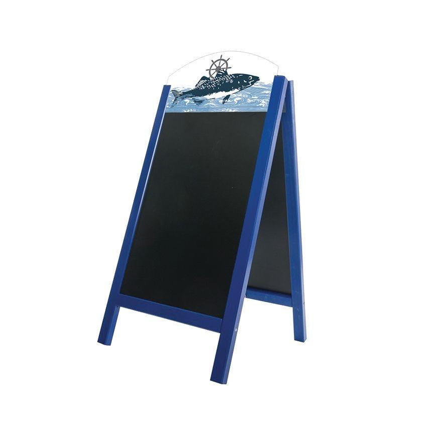 Chevalet stop trottoir bois bleu mer dimensions 60x127 cm modèle poissonnerie (photo)