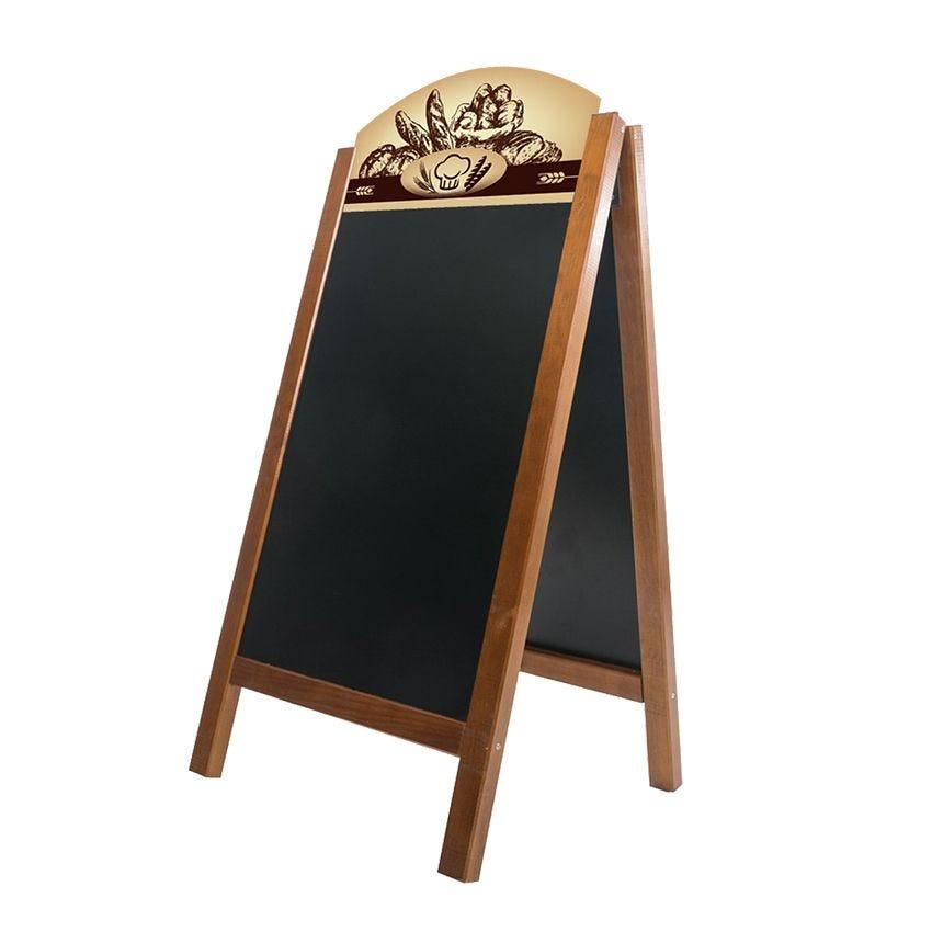 Chevalet stop trottoir en bois chêne dimensions 60 x 127 cm modèle boulangerie (photo)