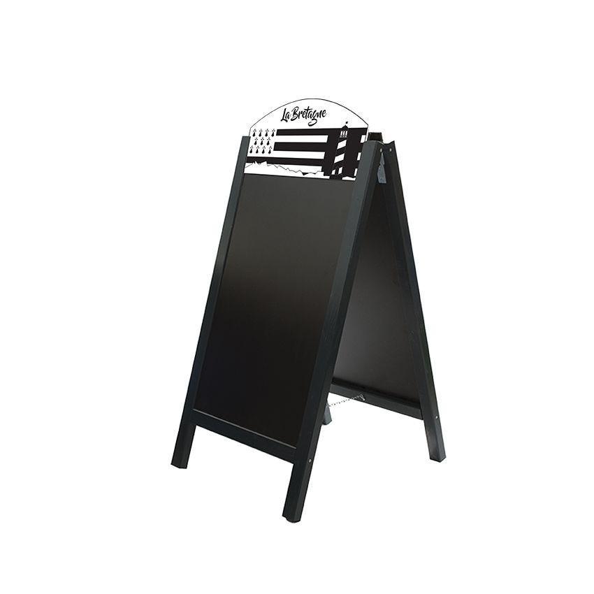 Chevalet stop trottoir bois noir dimensions 60 x 127 cm modèle bretagne (photo)