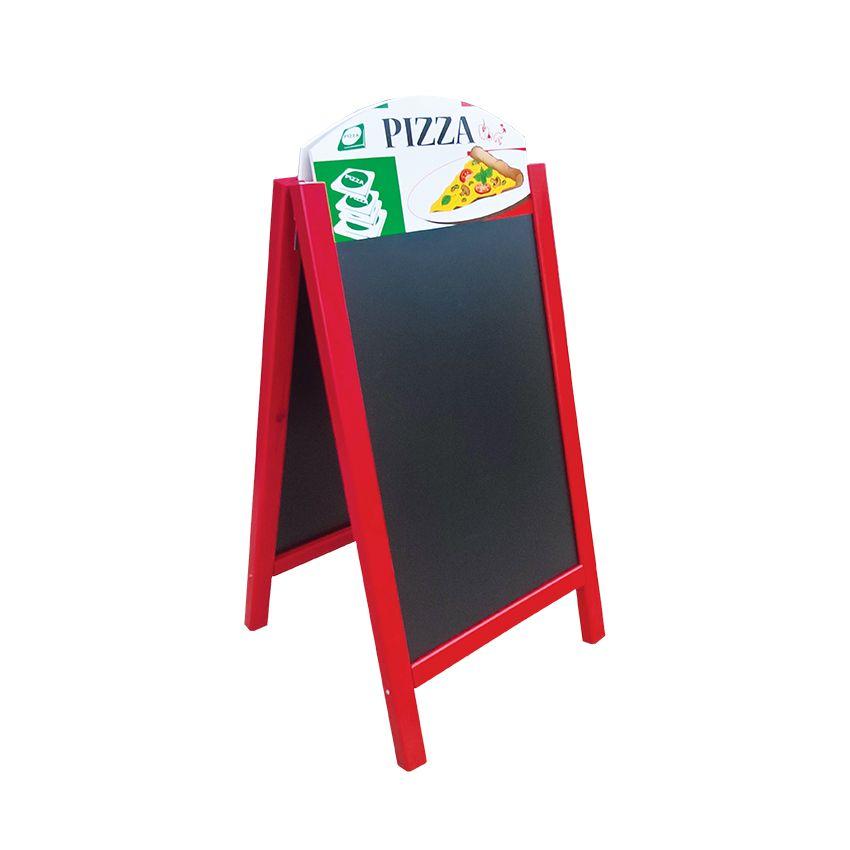 Chevalet stop trottoir bois rouge vin dimensions 60 x 127 cm modèle pizzeria (photo)