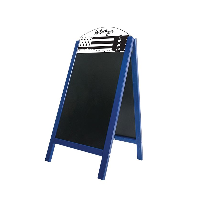 Chevalet stop trottoir bois bleu mer dimensions 60 x 127 cm modèle bretagne (photo)