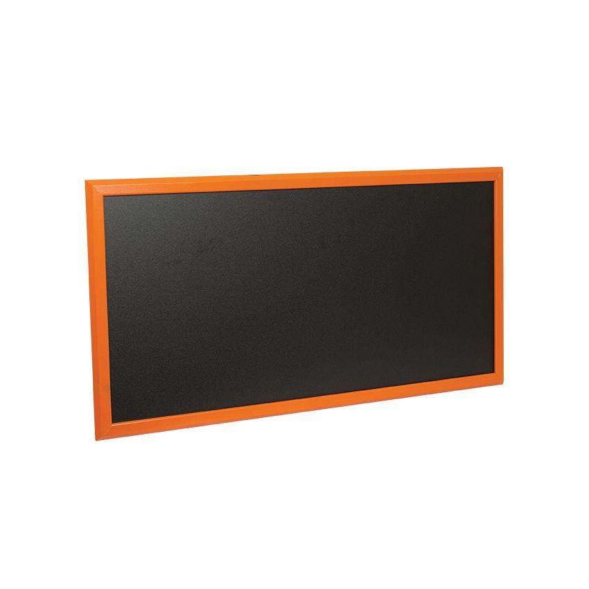 Ardoise murale en bois - couleur orange - dimensions 102 cm x 57 cm (photo)