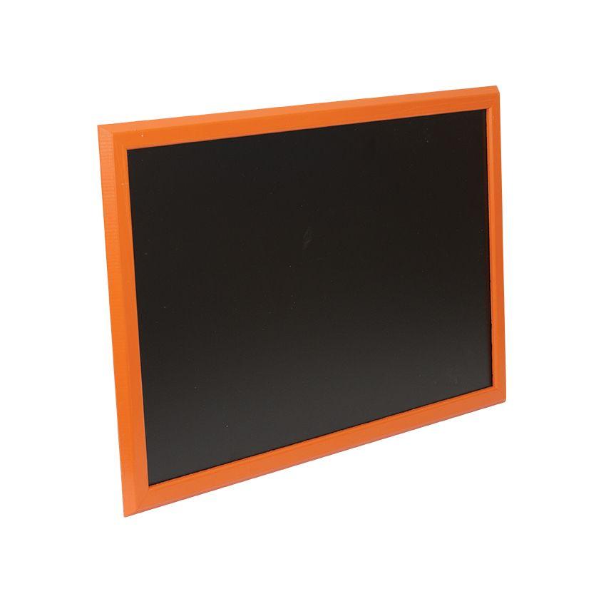 Ardoise murale en bois - couleur orange - dimensions 66 cm x 46 cm (photo)