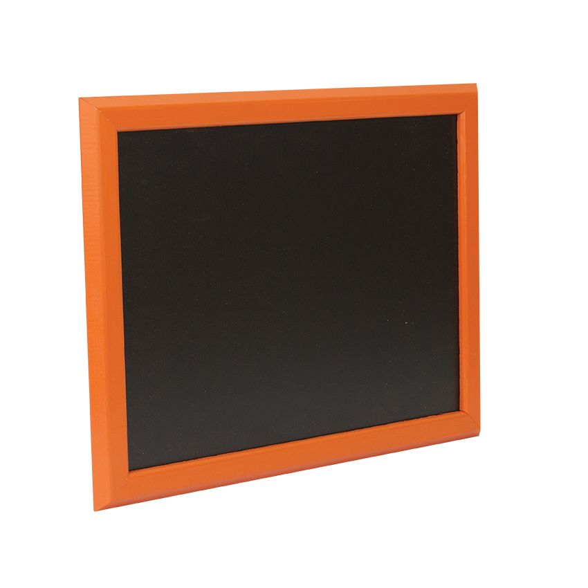 Ardoise murale en bois - couleur orange - dimensions 46 cm x 36 cm (photo)