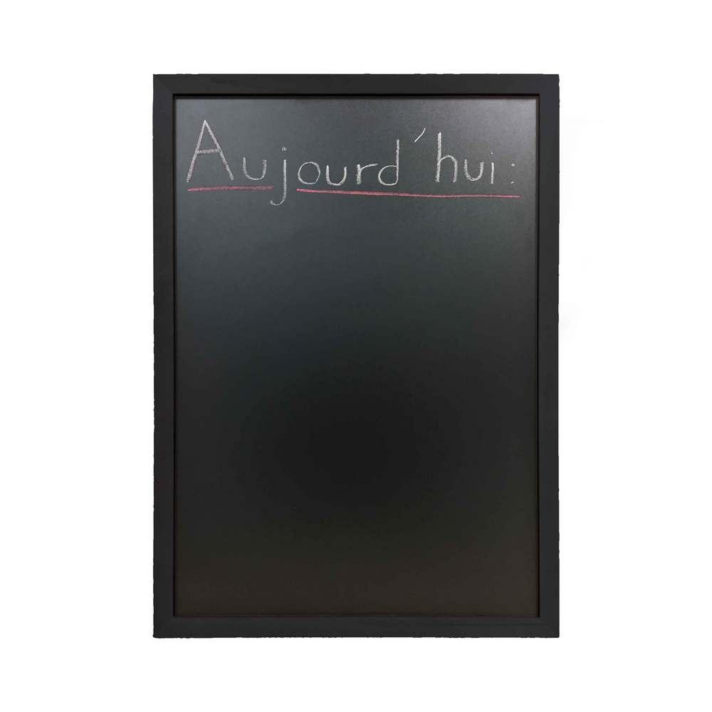 Ardoise murale rv cadre en bois couleur noir dim 72,5 x 52,5 cm - fab française