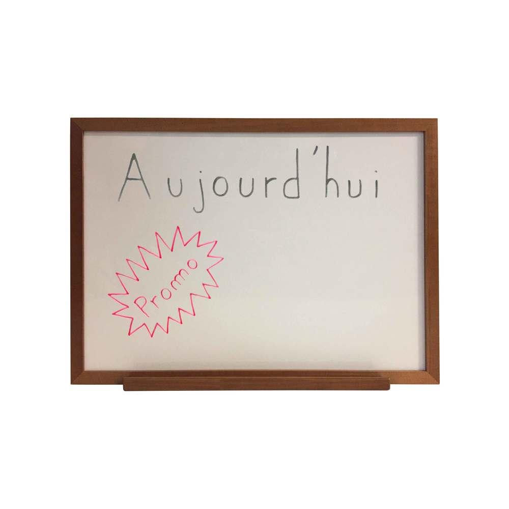 Ardoise couleur chêne dim 72,5 x 52,5 cm, verso blanc + plumier - fab française (photo)