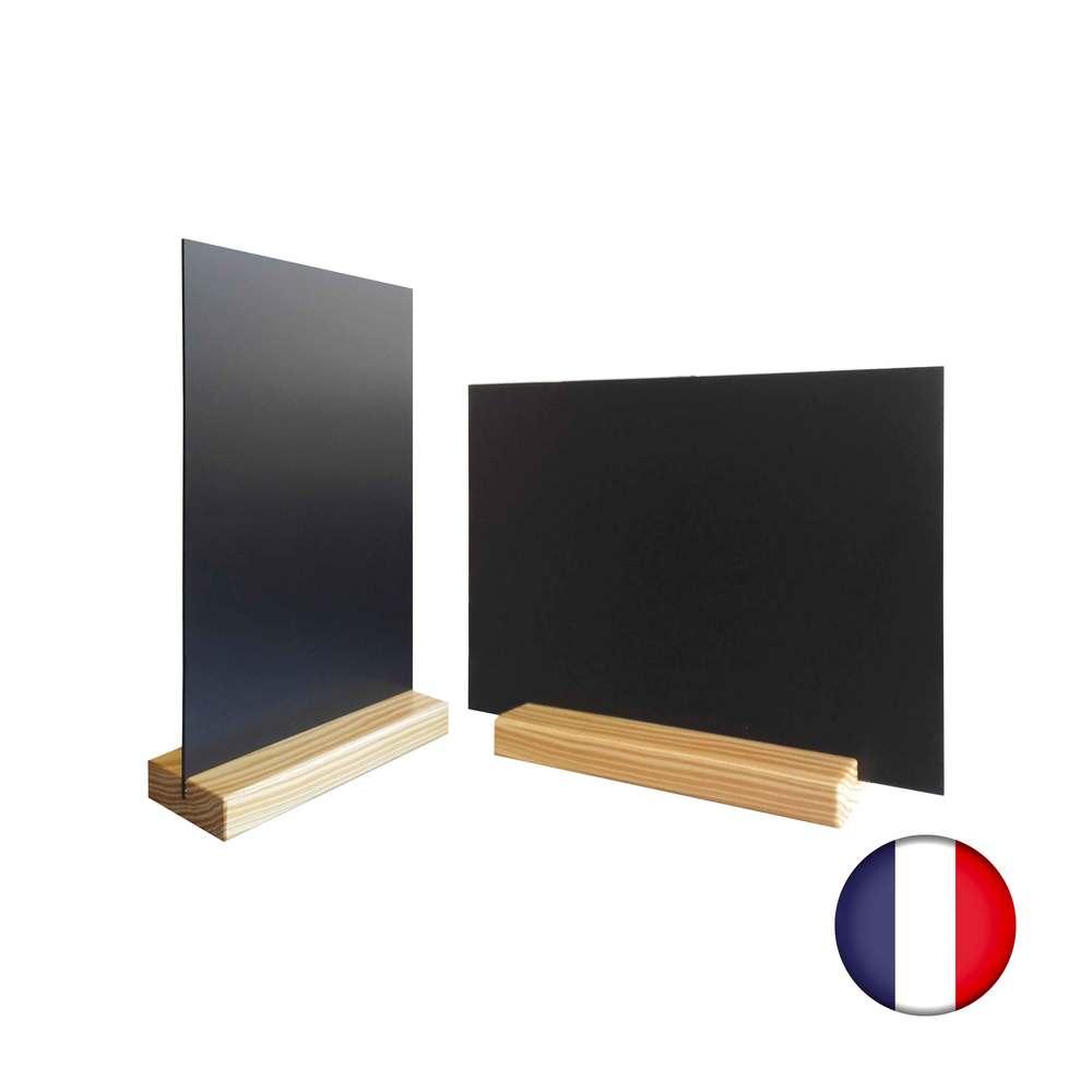 Lot de 2 porte-menu de table couleur pin naturel dim 15x3,6x2,3 cm + ardoise a5 (photo)