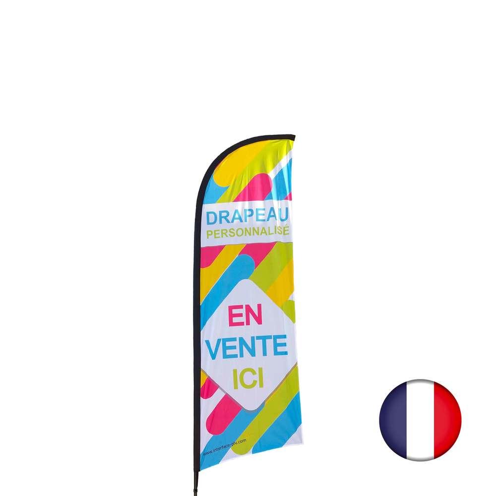 Drapeau personnalisé de dimensions 270 x 100 cm - fabrication française (photo)