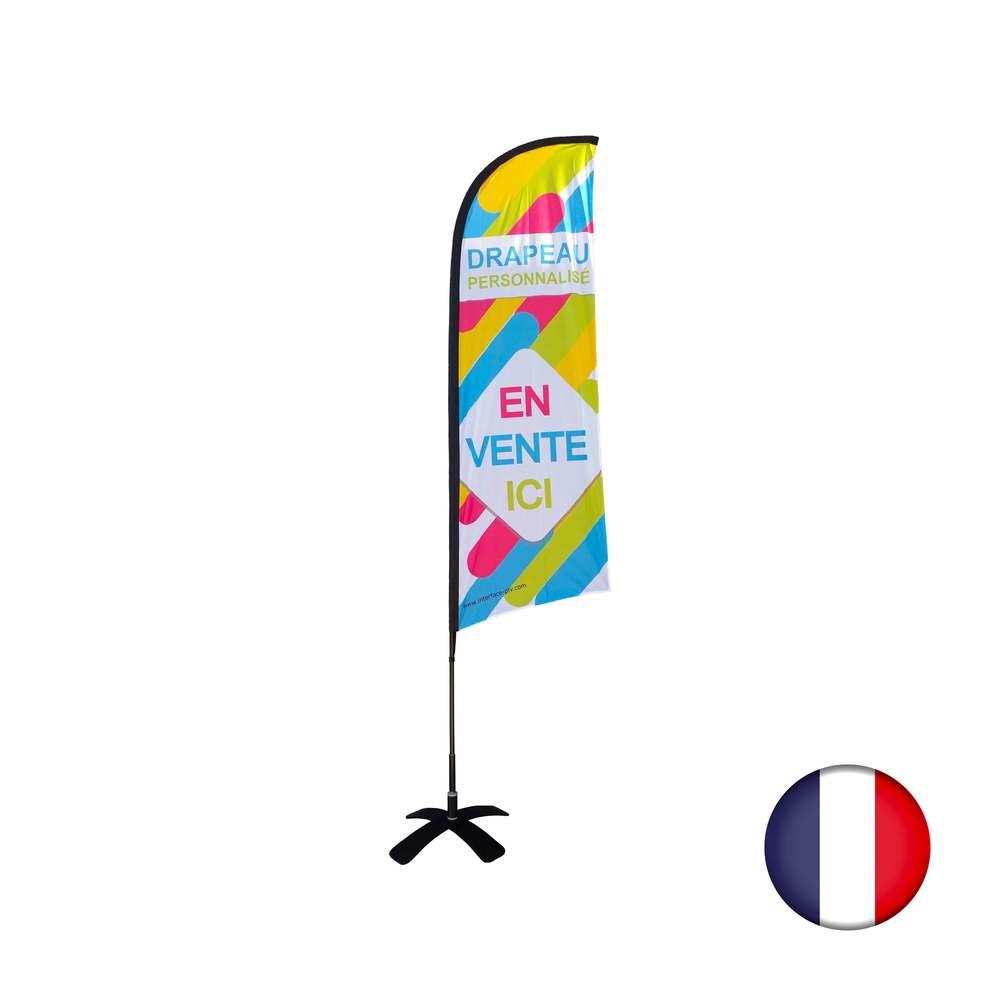 Drapeau personnalisé dimensions 270 x 100 cm avec kit tramontane - fab française (photo)
