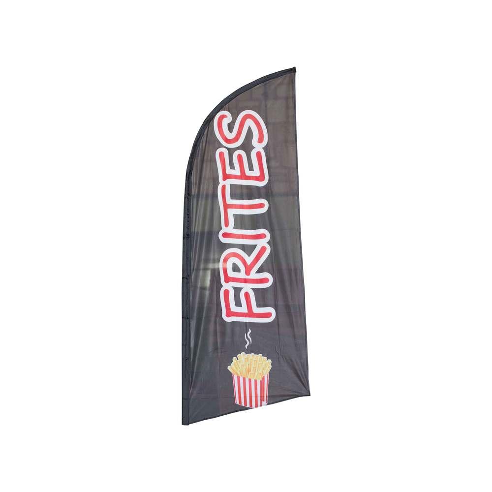 Drapeau publicitaire frites de dimensions 225 x 85 cm (photo)