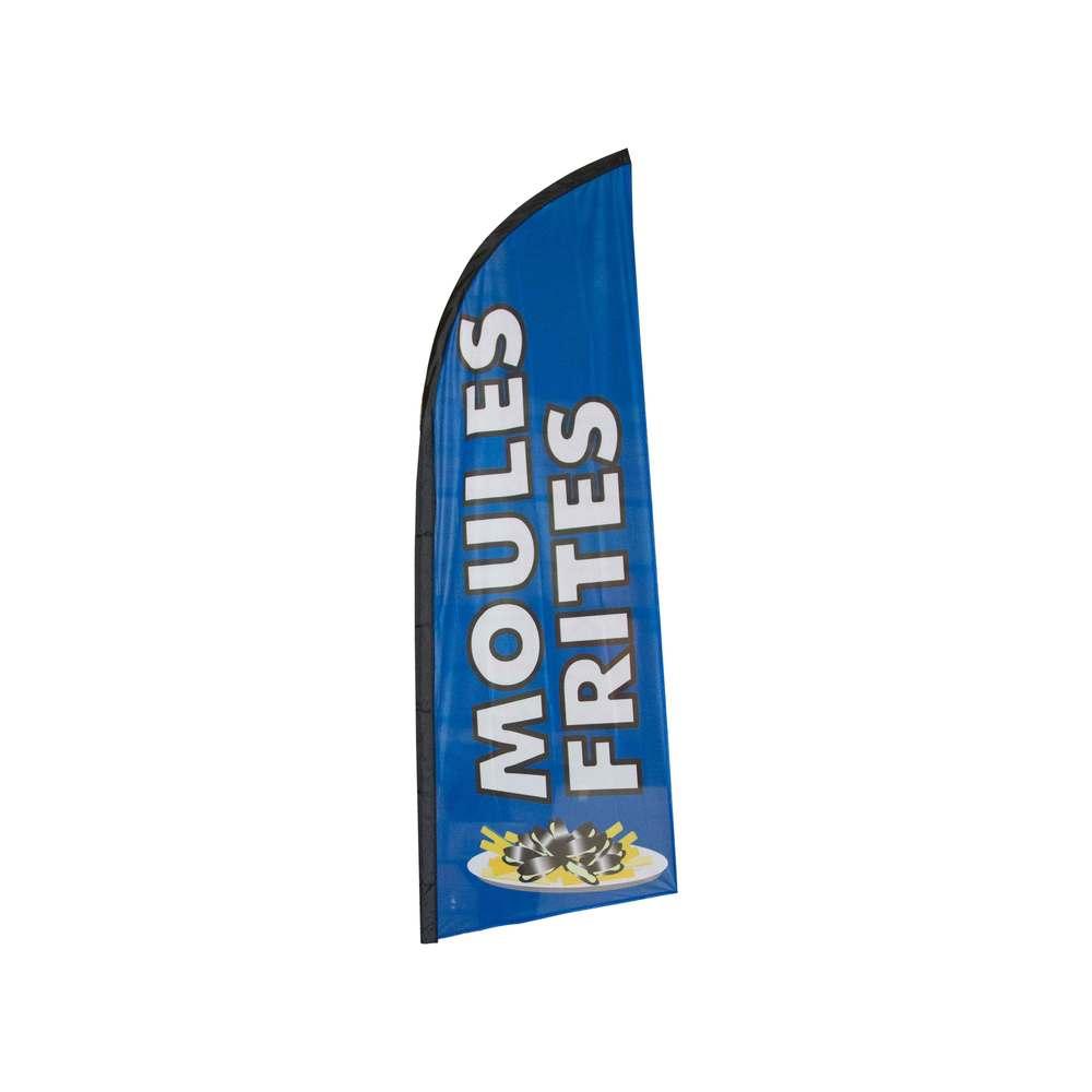 Drapeau publicitaire moules frites de dimensions 225 x 85 cm (photo)