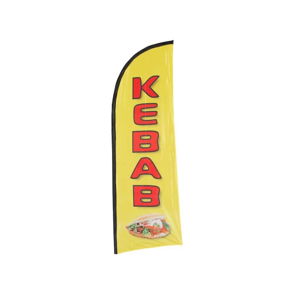 Drapeau publicitaire kebab de dimensions 225 x 85 cm (photo)