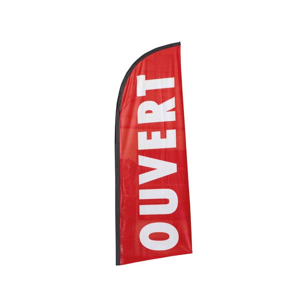 Drapeau publicitaire ouvert de dimensions 225 x 85 cm (photo)