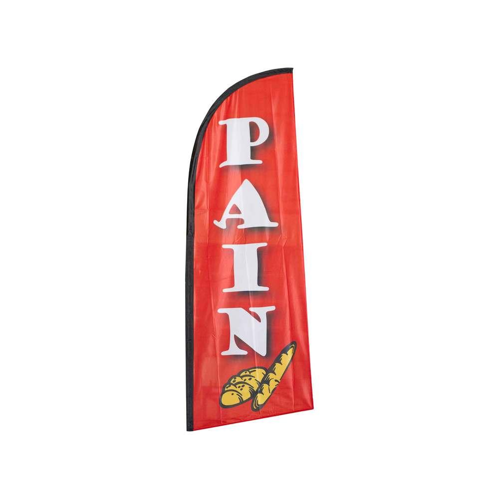 Drapeau publicitaire pain de dimensions 225 x 85 cm (photo)