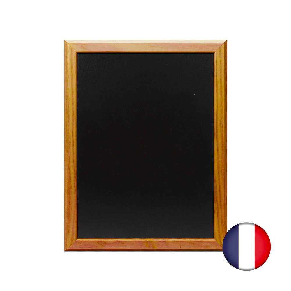 Ardoise murale bois couleur chêne dimensions 46 x 36 cm - fabrication française (photo)