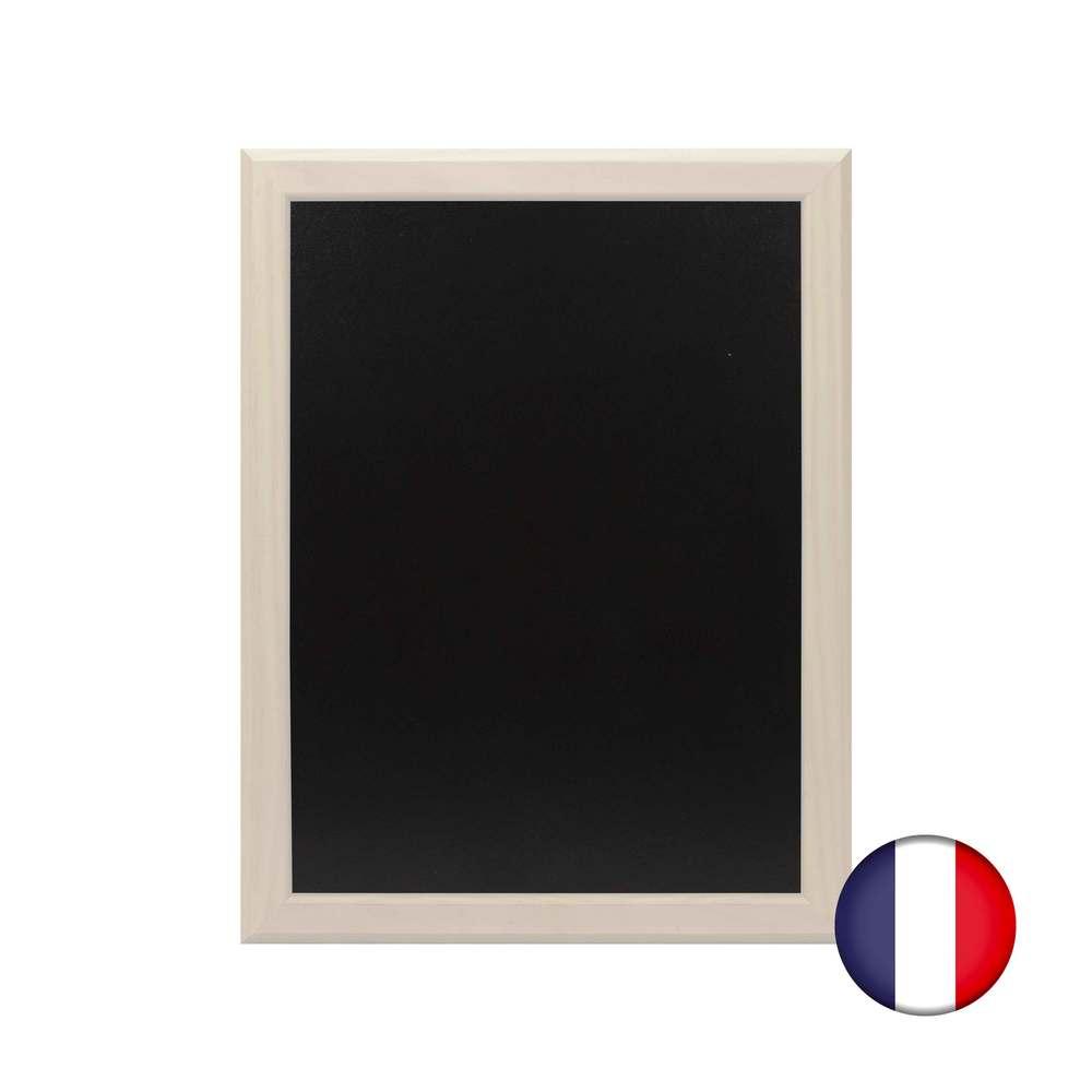 Ardoise murale bois couleur gris cérusé dimensions 46 x 36 cm - fab française (photo)