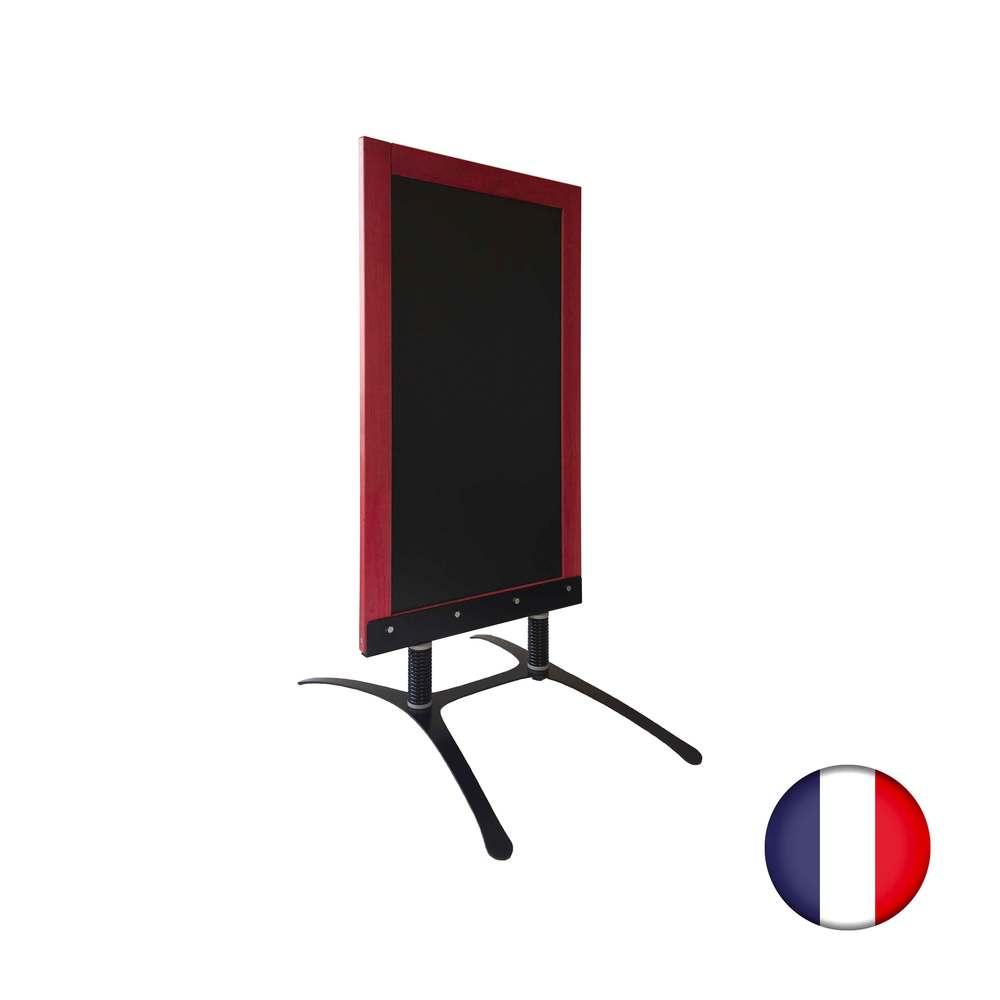 Panneau trottoir avec cadre bois acajou sur piètement design - fabrication fr