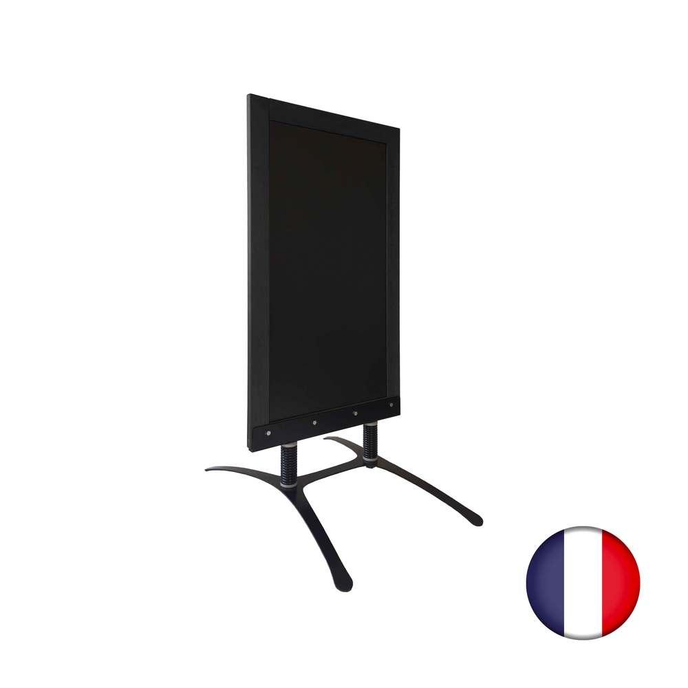 Panneau trottoir avec cadre bois noir sur piètement design - fabrication fr