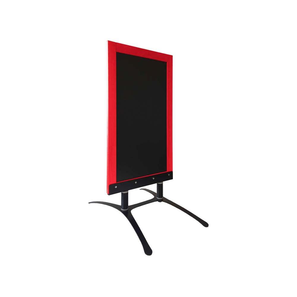 Panneau trottoir avec cadre bois rouge vin sur piètement design - fabrication fr
