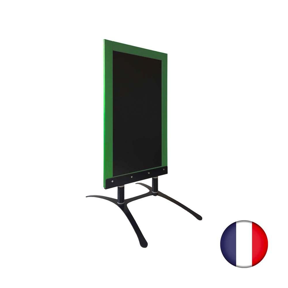 Panneau trottoir avec cadre bois vert feuille sur piètement design