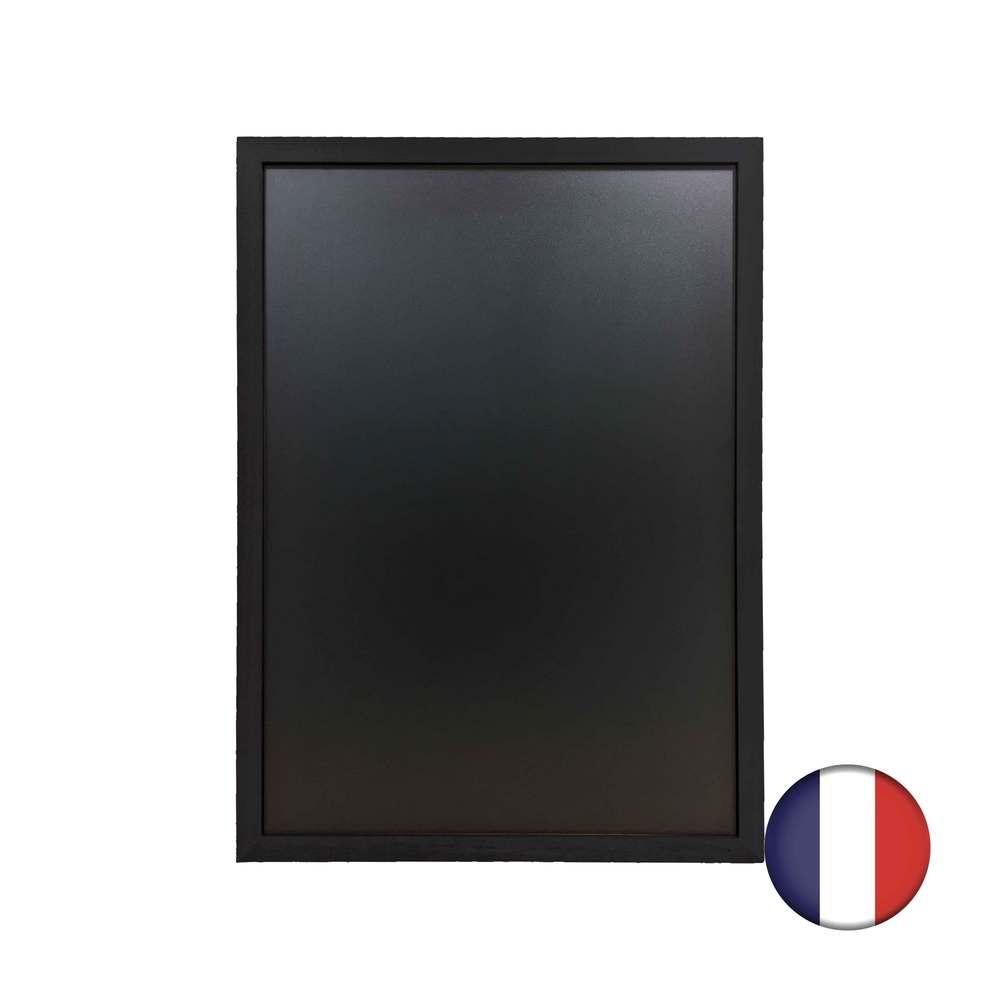 Ardoise cadre droit en bois couleur noir dimensions 83 x 63 cm - fabrication fr (photo)
