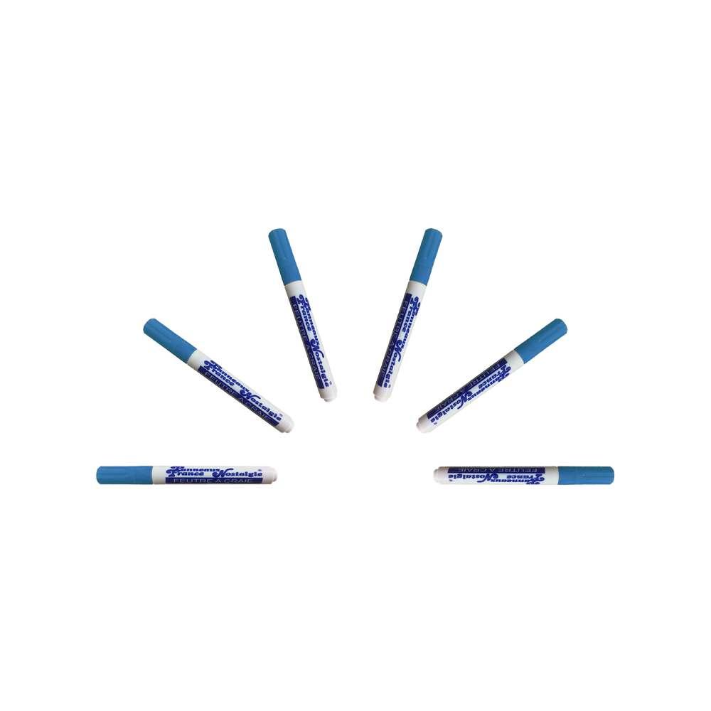 Feutre craie couleur bleu pointe 6 mm - par 6 (photo)