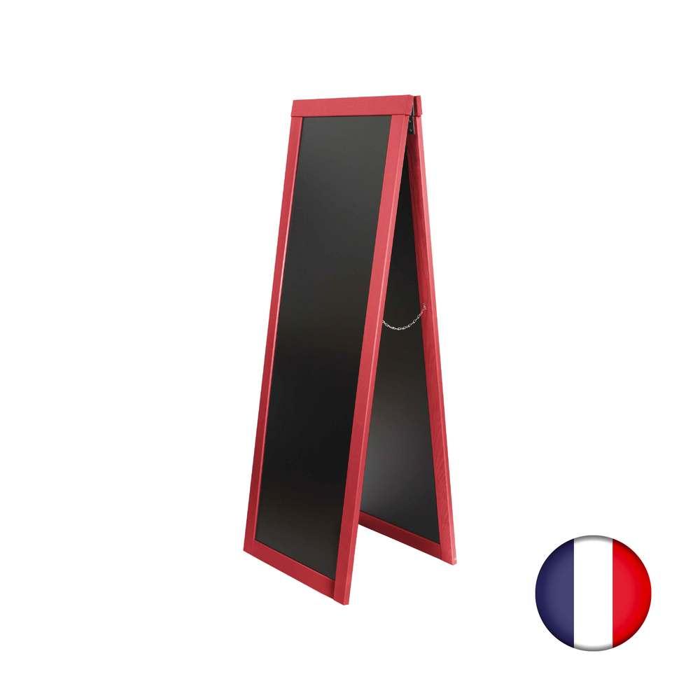 Chevalet stop trottoir avec cadre bois couleur rouge vin dimensions 170 x 60 cm (photo)