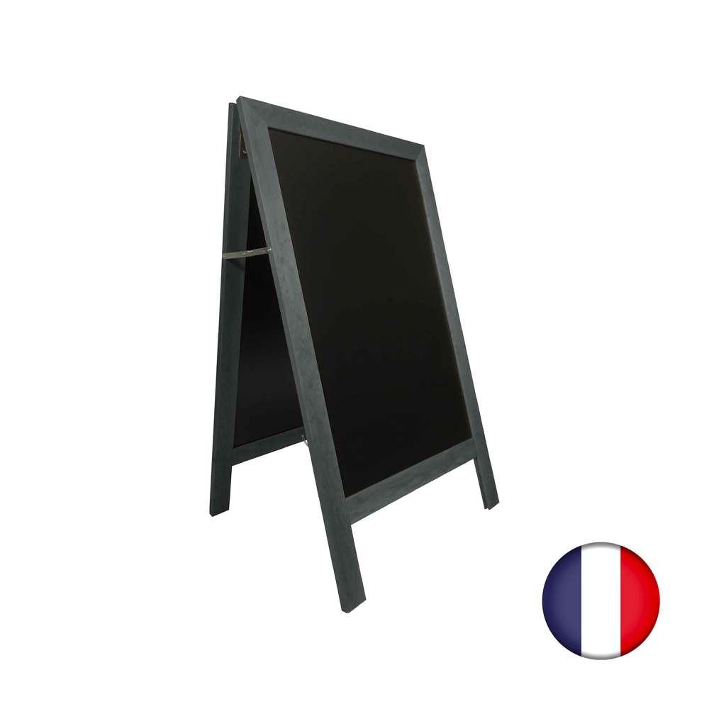 Chevalet stop trottoir avec cadre bois couleur anthracite dimensions 127 x 75 cm