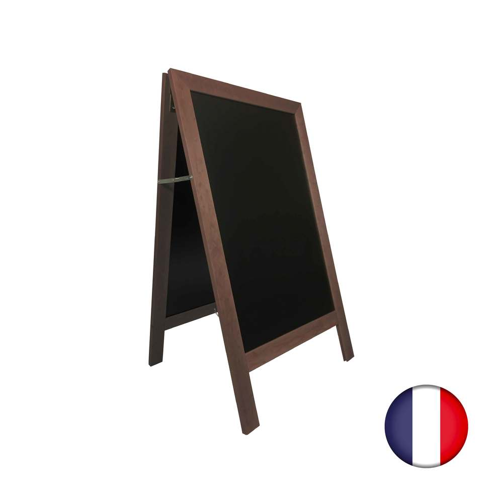 Chevalet stop trottoir avec cadre bois couleur chocolat dimensions 127 x 75 cm