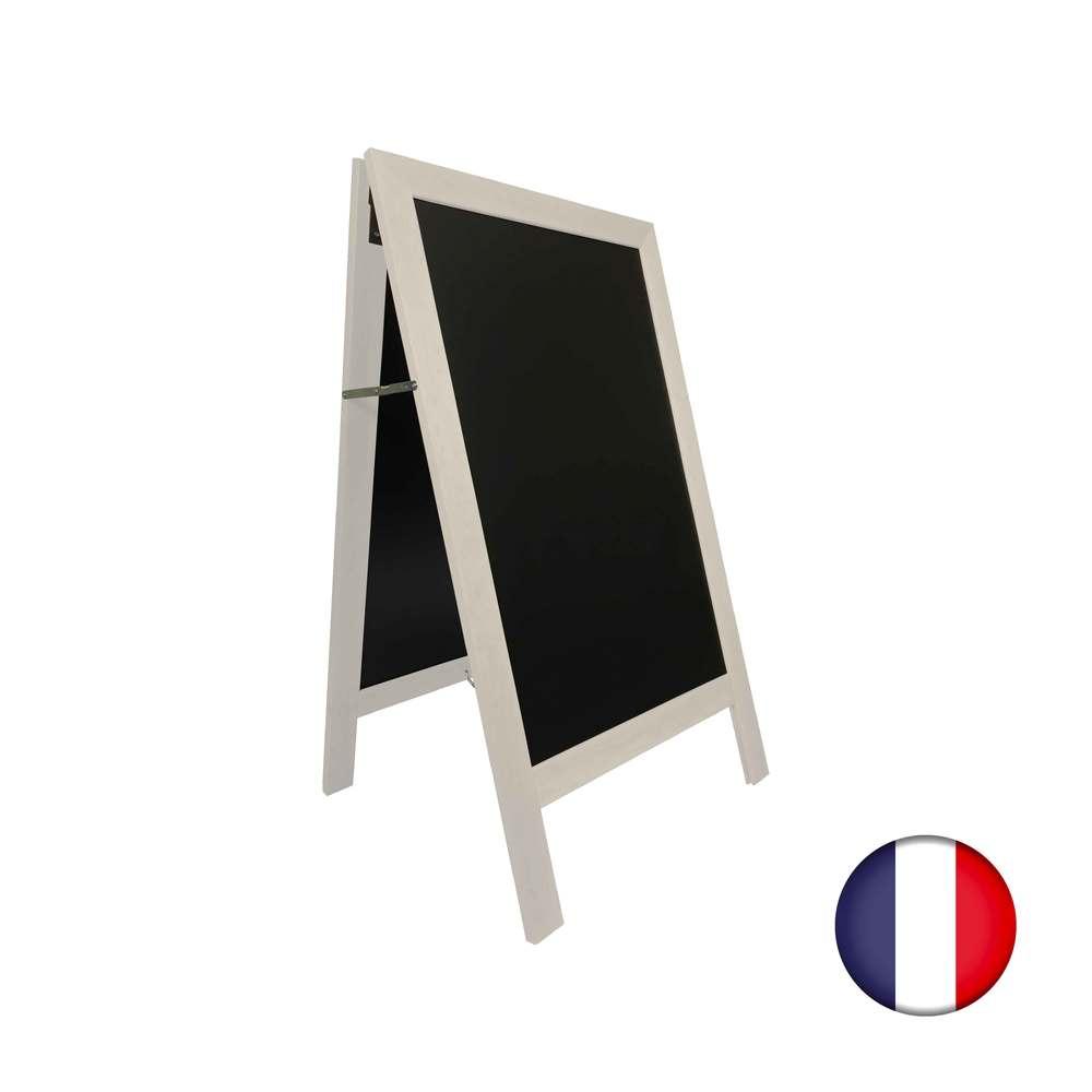 Chevalet stop trottoir avec cadre bois couleur gris cérusé dimensions 127 x 75cm