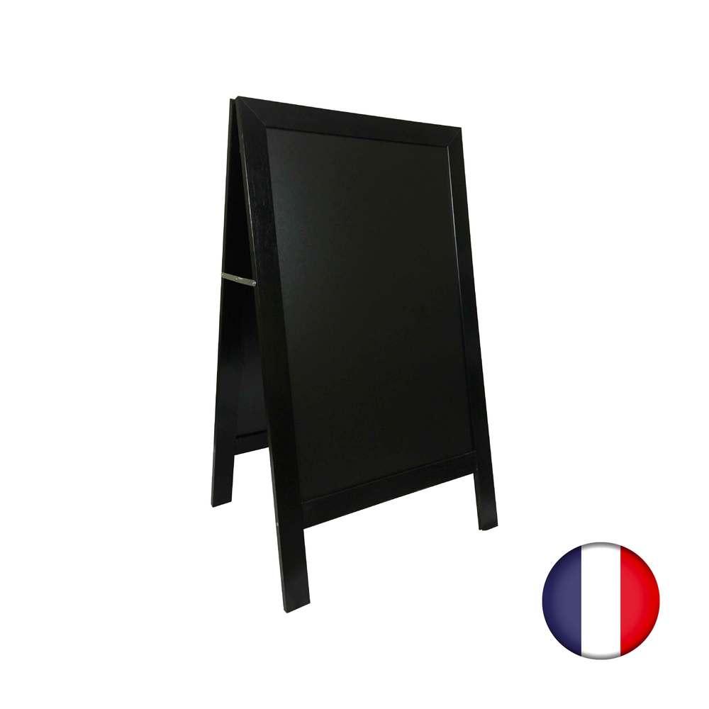 Chevalet stop trottoir avec cadre bois couleur noir dimensions 127 x 75 cm (photo)