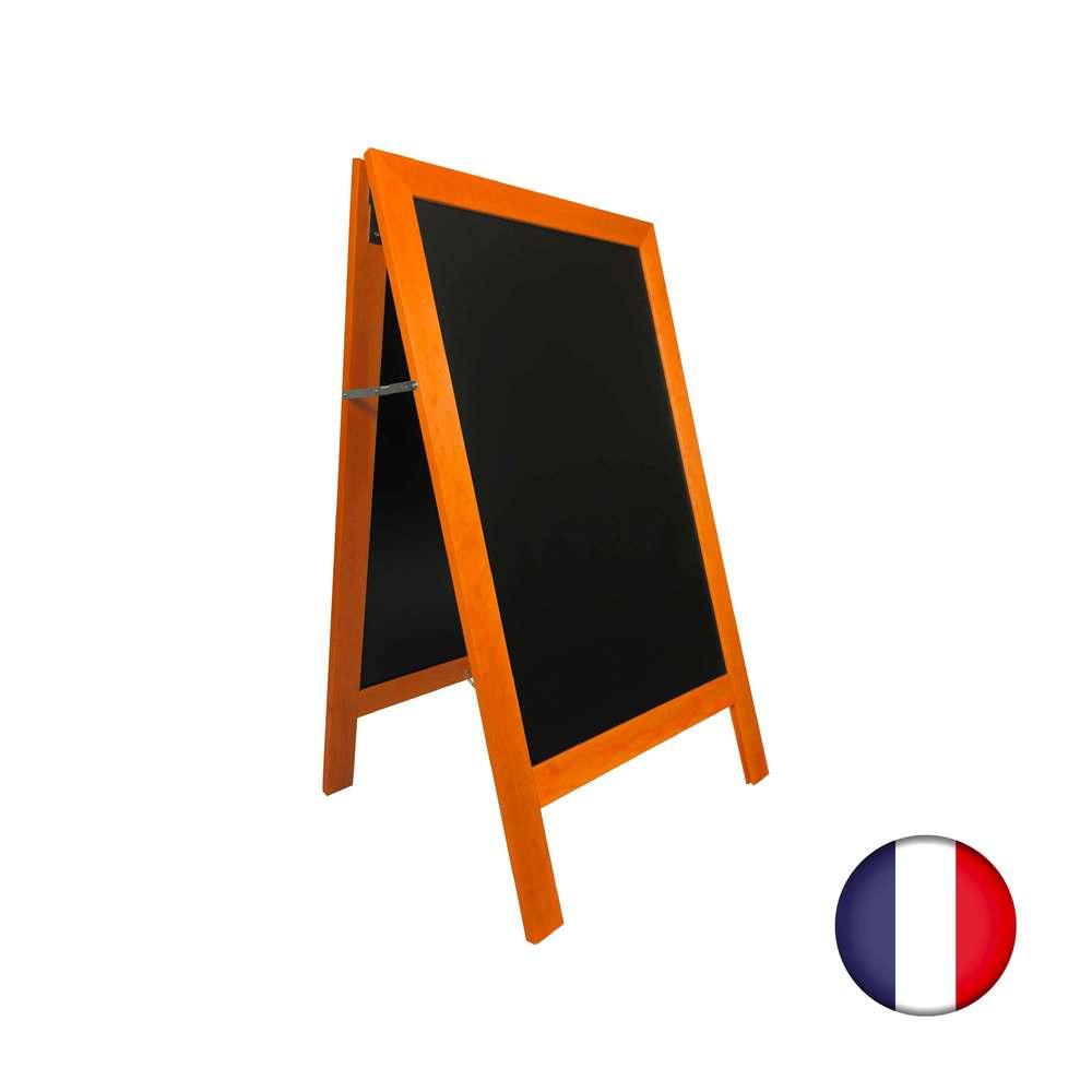 Chevalet stop trottoir avec cadre bois couleur orange dimensions 127 x 75 cm (photo)