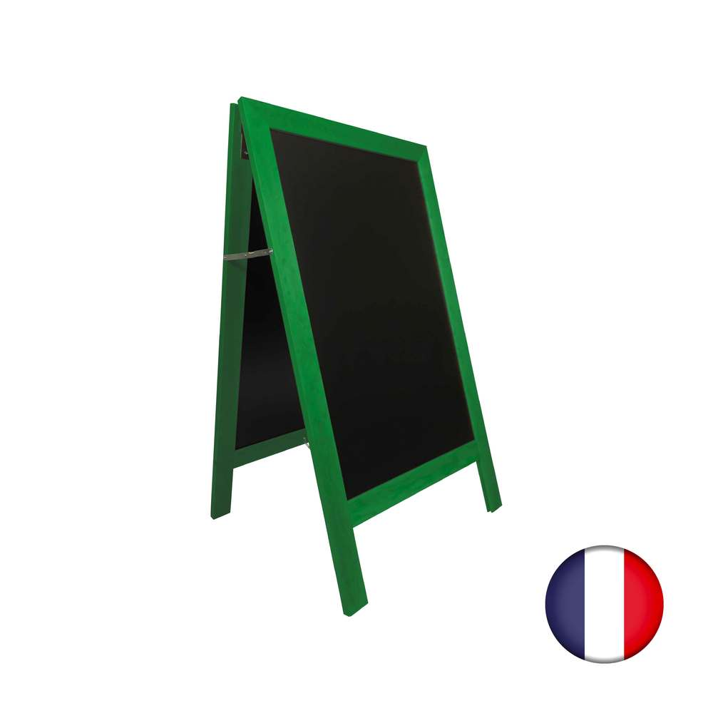 Chevalet stop trottoir avec cadre bois couleur vert feuille dimensions 127x75 cm (photo)