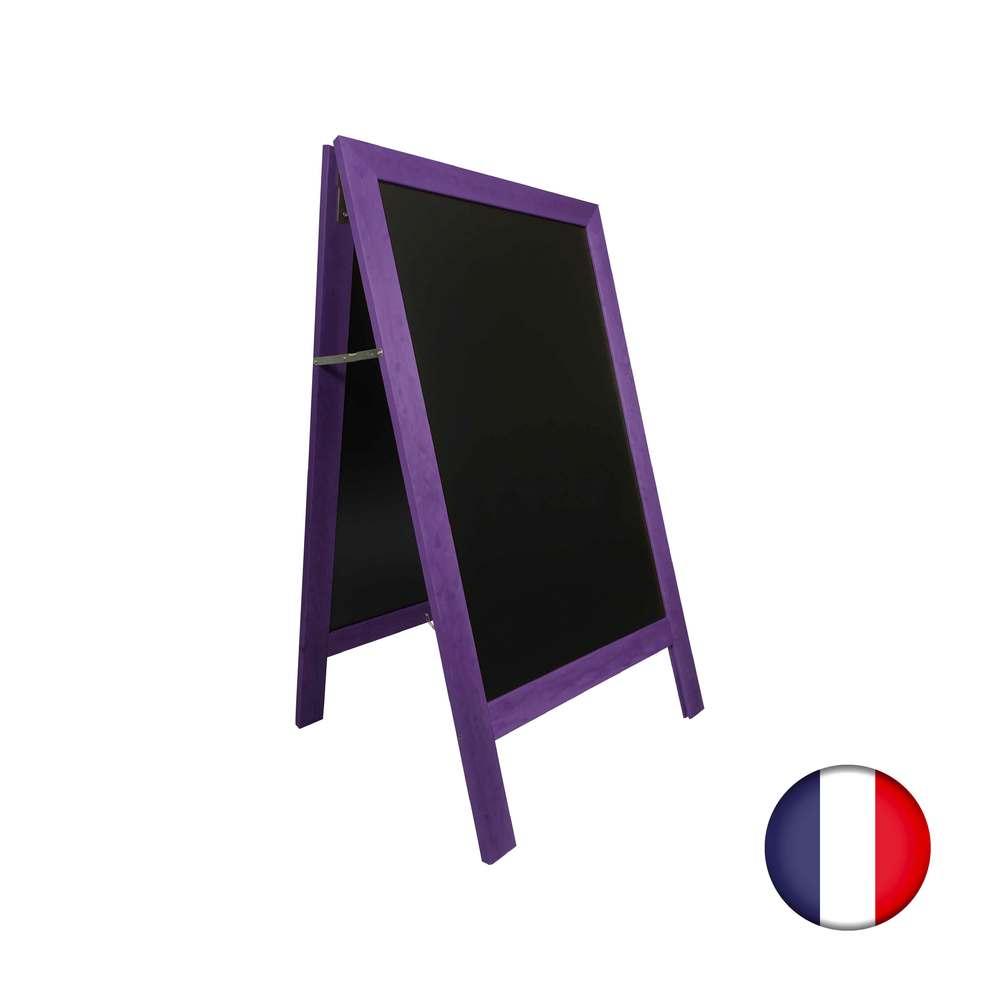 Chevalet stop trottoir avec cadre bois couleur violet dimensions 127 x 75 cm (photo)